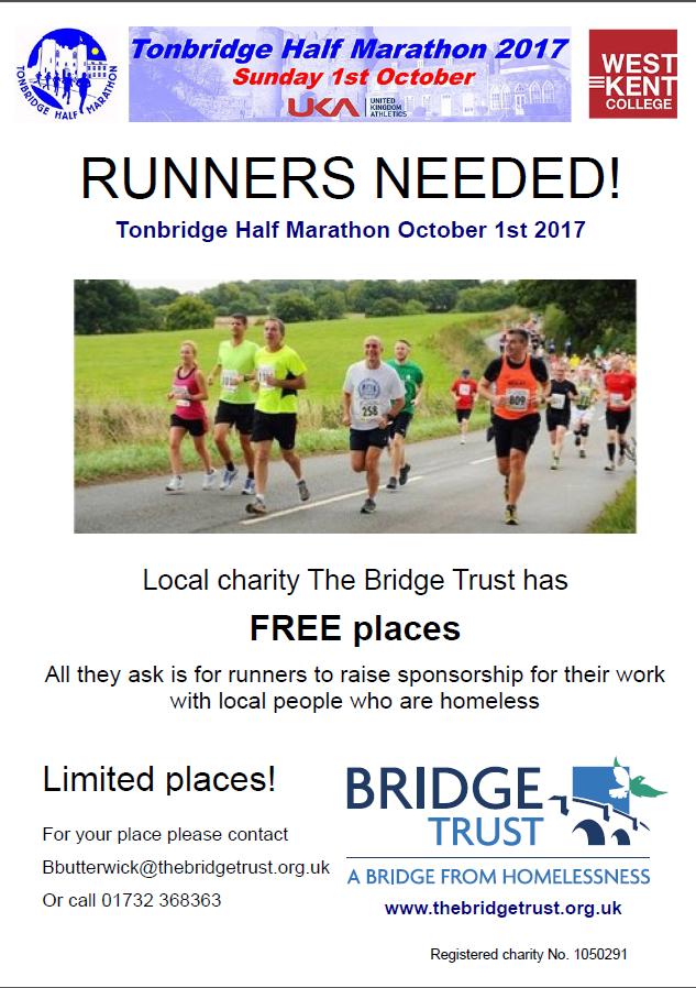 Tonbridge Half Marathon - free places